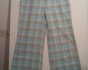 "Vintage Kmart K-Mart women's bell bottom pants flared 30"" hippie psychedelic mod disco polyester knit 70s slacks trousers"