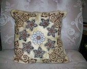 Embroidered 3 D flowers pillows