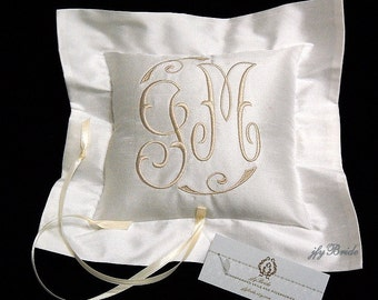 Silk Ring Bearer Pillow, Small Ring Bearer Pillow, Monogrammed Ring Pillow, Embroidered Wedding Pillow, Style 4201