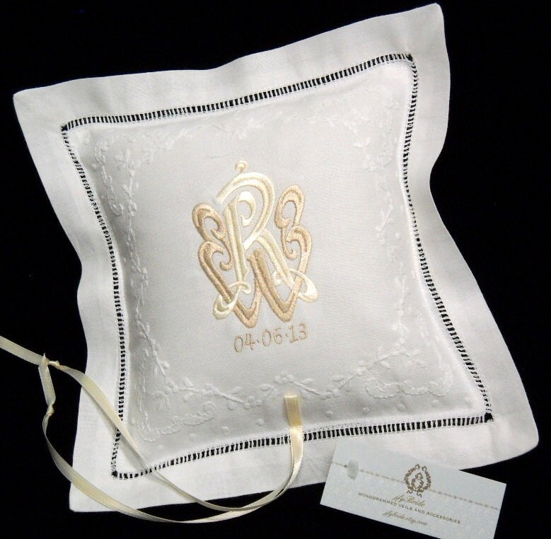 Monogram Wedding Ring Bearer Pillow: Wedding Ring Bearer Pillow Monogram Ring Pillow Irish Linen