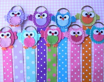 Owl Hair Bow Holder  Hair Clip Holder Barrette Holder with Polka Dotted Ribbon