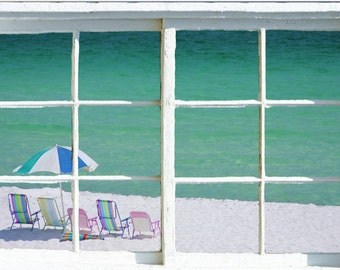 Wall mural window, self adhesive, window view-3 sizes available-Navarre beach -free US shipping