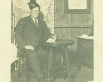 Lyle Hickey Michigan Man Sitting in Cabin RPPC Real Photo Postcard Antique Black And White Photo Photograph