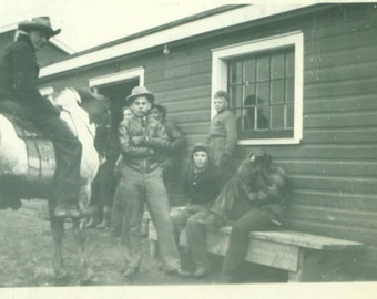 The Cool Kids New Yorkers On A Farm Riding Horse Posing For Vintage Photo Snapshot Black White Photograph