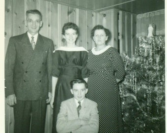 Christmas 1957 Family Standing in Front of Decorated Tinsel Tree Vintage Black White Photo Photograph