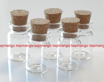 100 0.5ml Glass Bottles Vials with Corks... 0.5ml...Mini Bottles