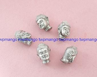 10 BuddhaHead beads Antique Silver Metal Buddha Beads N94