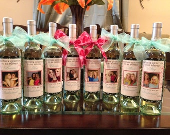 Bridal Party Gifts - Custom Wine Labels - WIll you be my Bridesmaid Labels - 7 Labels