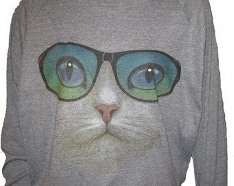 "Cat with Sunglasses Pullover Slouchy ""Sweatshirt""  Top American Apparel Gray S, M, or L"