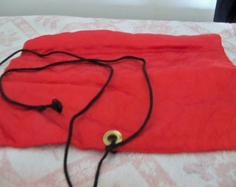 vintage red and black silky satin jewelry bag