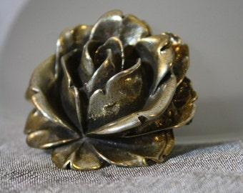 Vintage Solid Silver Rose Brooch
