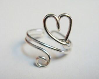 Heart Ear Cuff    Sterling Silver Ear Cuff   Sterling Silver Heart Ear Cuff   Heart Jewelry  Valentines Gift