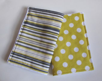 Baby  Burp Cloths-Set of Two- Yellow and Grey  by Michael Miller-Ready To Ship