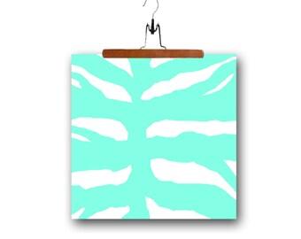 fabric panel pillow linen cotton zebra aqua white home decor supply 18x18 supply