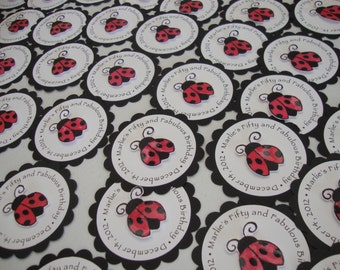Ladybug tags (set of 24) and other party supplies