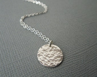 delicate silver necklace, dainty silver necklace, hammered disc disc, circle pendant, simple silver necklace, wedding bridesmaids gift, N161