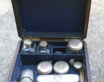 Antique Victorian Toiletry or Vanity Box - Travel Case with accessories - very Downton Abbey
