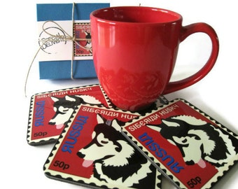 Dog Coasters featuring the Siberian Husky Home Decor Hostess Gift