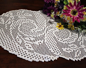 Lovely Oval  Crochet Doily