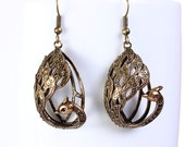 Antique brass pecock bird drop dangle earrings (665) - Flat rate shipping