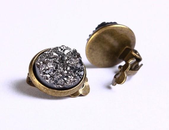 Antique brass silver black clip on earrings -  - Faux Druzy earrings - Lead free Nickel free earrings (750) - Flat rate shipping earrings