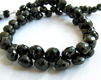 Black Spinel Faceted Onion Candy Kiss Briolettes Full Strand (4w57)