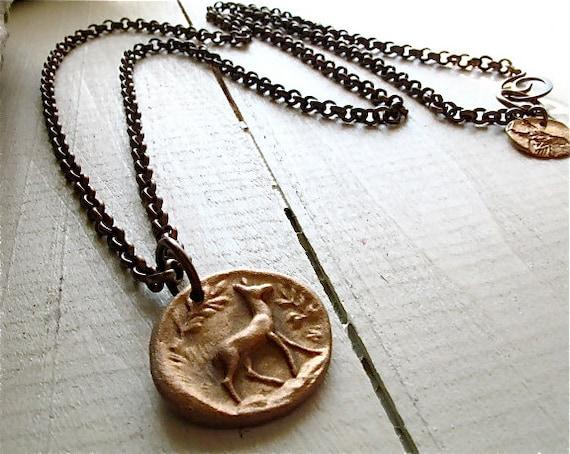 bronze deer necklace : woodland jewelry - extra long chain, handmade bronze pendant, natural brass chain