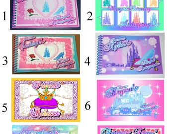 Personalized Autograph Book DISNEY PRINCESS - Belle - Mulan - Pocahontas- Cinderella - Snow White - Sleeping Beauty Custom Made