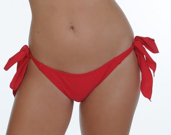 Red Side Tie Scrunched Bottom- ONE SIZE Fits Most