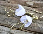 20% off Spring Sale - White Tulip Flower Earrings - 14k Gold earwires