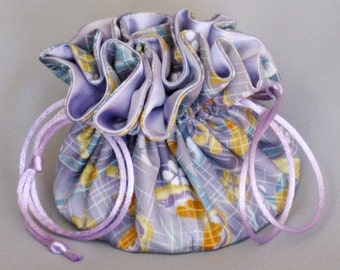 Jewelry Tote---Drawstring Organizer Pouch---Floral Design---Medium Size