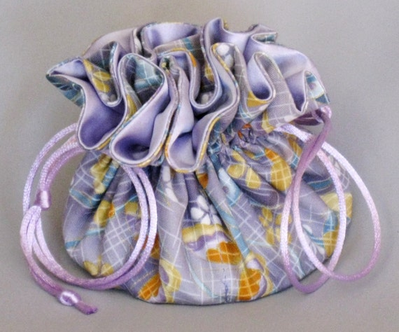 Jewelry Tote---Drawstring Organizer Pouch---Butterfly Floral Design---Medium Size