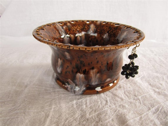Dark Brown with Black Flecks and Bursts of White Earring Holder - Made from Wheel Thrown Pottery