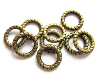 16 Circle connector rings antique bronze jewelry making metal findings mlf102
