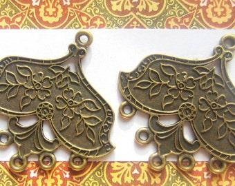 Earring chandelier 6 bronze  pendant drops 33mm x 35mm ethnic chic antique bronze jewelry findings (F3)
