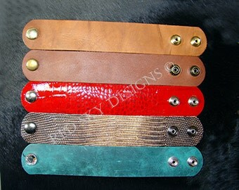 FRESH NEW COLORS - 5 Leather Cuffs - Pick Your Cuff Colors - Pick Your Snaps