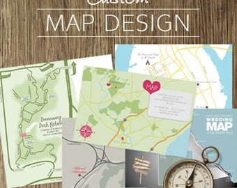 custom wedding map design and illustration - printable file