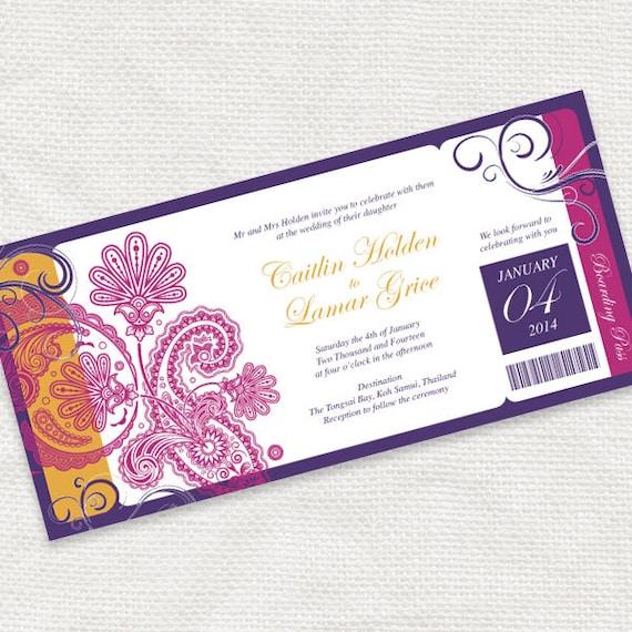 Travel Wedding Invitation Printable Ticket Boarding Pass Diy