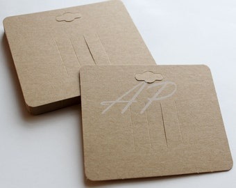 50pcs of Blank Hair Clip Display Card in Brown Kraft Paper for Accessory and Jewelry for DIY(with hanging hole on top)