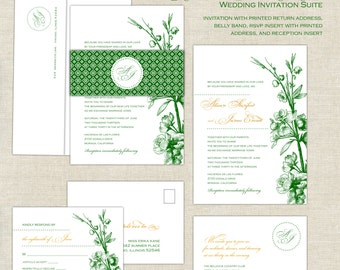 Emerald Wedding Invitations, Romantic Wedding Invitation, Classic Wedding Invites, Green & Gold, Belly Band, Monogram