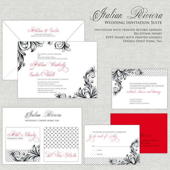 Black and Red Wedding Invitations Wedding invites Flourish Wedding