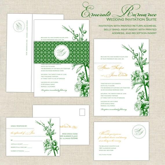 Emerald Wedding Invitations Romantic Wedding Invitation