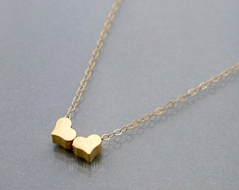 Two hearts necklace, tiny heart necklace, gold filled / sterling silver chain, heart charm, dainty small everyday jewelry, holidays gift