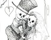 Skeleton wedding Day of the Dead, Greeting card, Bride groom, Halloween gift, Steampunk gothic valentine heart