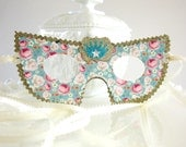 Blue Pink and White Shabby Chic Floral Masquerade Mask