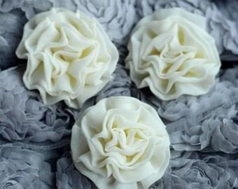 3 Chiffon Silk Rose Flower Cabbage Rosette Bud Ivory Cream Bridal Hair Comb Bow Headband Clip FREE Combine Shipping US SF074