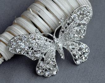 Rhinestone Brooch Crystal Butterfly Bridal Brooch Bouquet Wedding Cake Decoration Hair Comb Cinderella Shoe Clip Supply BR202