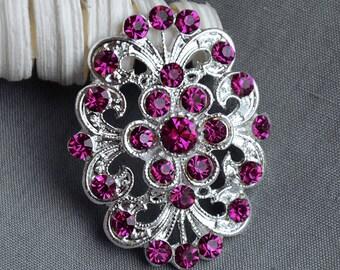 5 Rhinestone Button Embellishment Fuchsia Hot Pink Crystal Bridal Hair Comb Wedding Brooch Bouquet Invitation Cake Deco BT446