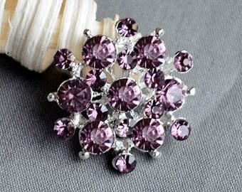 5 Rhinestone Button Embellishment Amethyst Purple Crystal Bridal Hair Comb Wedding Brooch Bouquet Invitation BT192