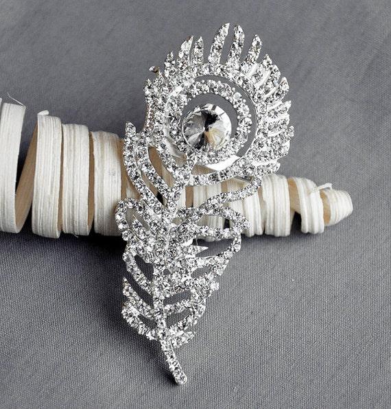 SALE Rhinestone Brooch Pin Embellishment Crystal Peacock Feather Bridal Wedding Brooch Bouquet Hair Comb Shoe Clip BR012